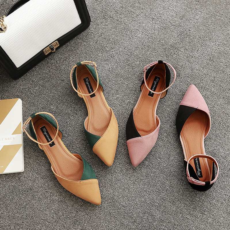 Sunny Everest 2019 News Spring Summer Women's Shoes Shallow-mouthed Belt Shoes Pointed Hollow Casual Shoes Sandals 35-39