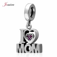 925 Sterling Silver Jewelry Mother S Day Gift Dangle I Love Mom Charms Beads For Women