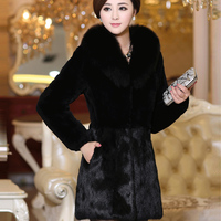 Faux fur coat faux fox fur women's clothing 2017 medium long mink fur overcoat fight mink