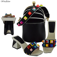 Latest Black Shoes With Matching Bags Unique Sets Women Shoes and Bag to Match Nigerian Shoes and Bag Set For Lady B811 24