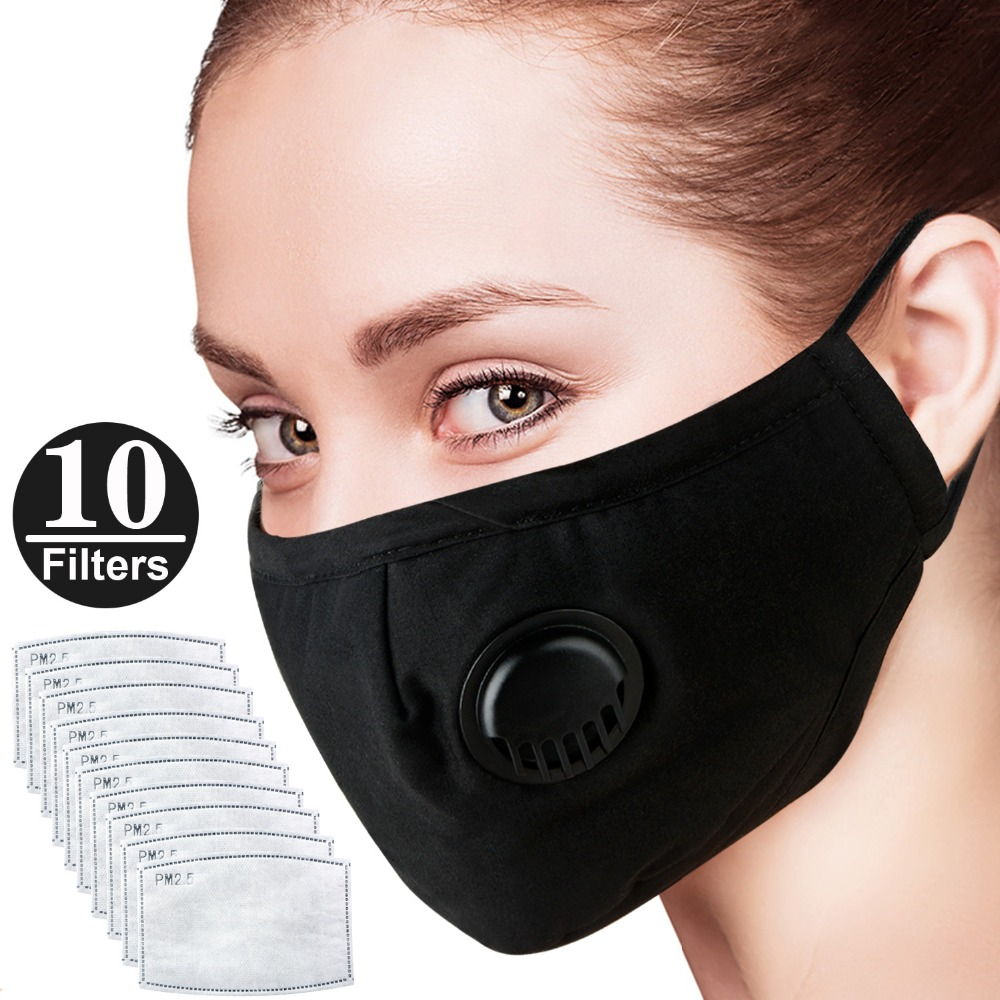 Cotton PM2.5 Anti-dust Anti Haze Mask Breath Valve Mask Activated Carbon Filter Respirator Mouth-muffle Mask Face With 10 Filte