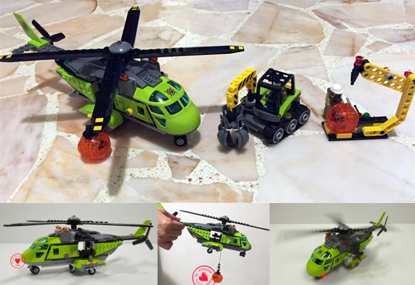 New City Volcano Supply Helicopter Geological Prospecting fit legoings City Volcano Building Block Bricks diy toy 60123 gift kid bevle 10641 bela city series volcano exploration base geological prospecting building block bricks toys gift for children 60124