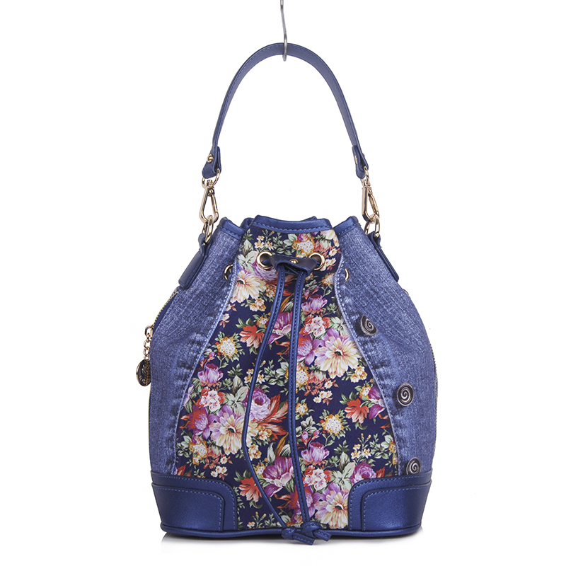 2018 new design handle and messenger cross body small summer floral print cotton and leather shoulder bag women bag characteristic floral and butterfly shape lace decorated body jewelry for women