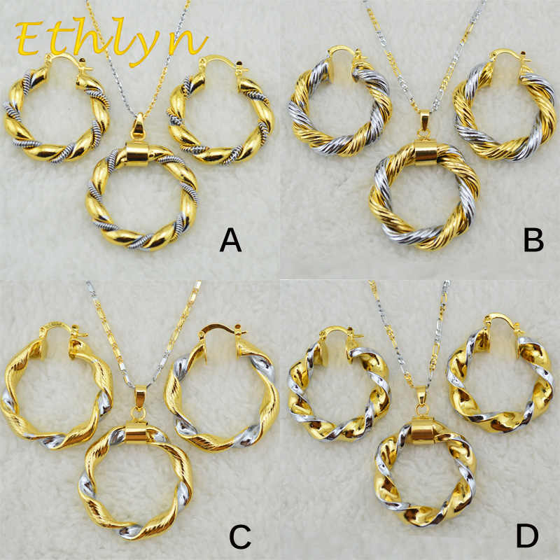 Ethlyn New arrival Ethiopian double color Round necklace earrings sets Gold Color Dubai/African/Eritrean jewelry for women S20