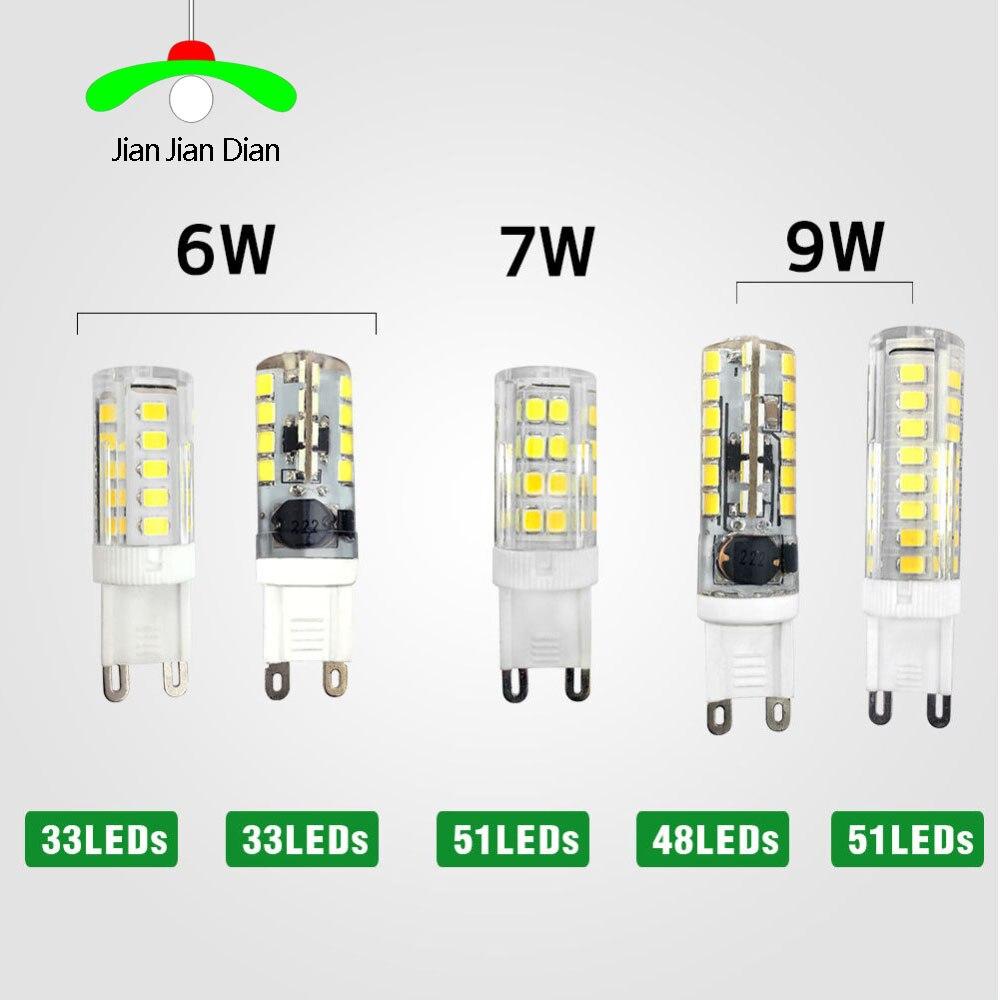 10pcs G9 LED lamp 6W 7W 9W LED Lamp G9 SMD 2835 AC110-240V LED light 360 degree ED Crystal Silicone Candle Light Bulb Spotlight