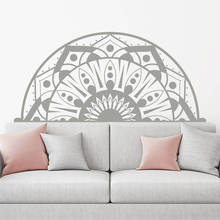 Bohemian Yoga Studio Wall Decal Headboard Vinyl Sticker Home Bedroom Decor Half Mandala Design Mural Boho Art Poster AY1442