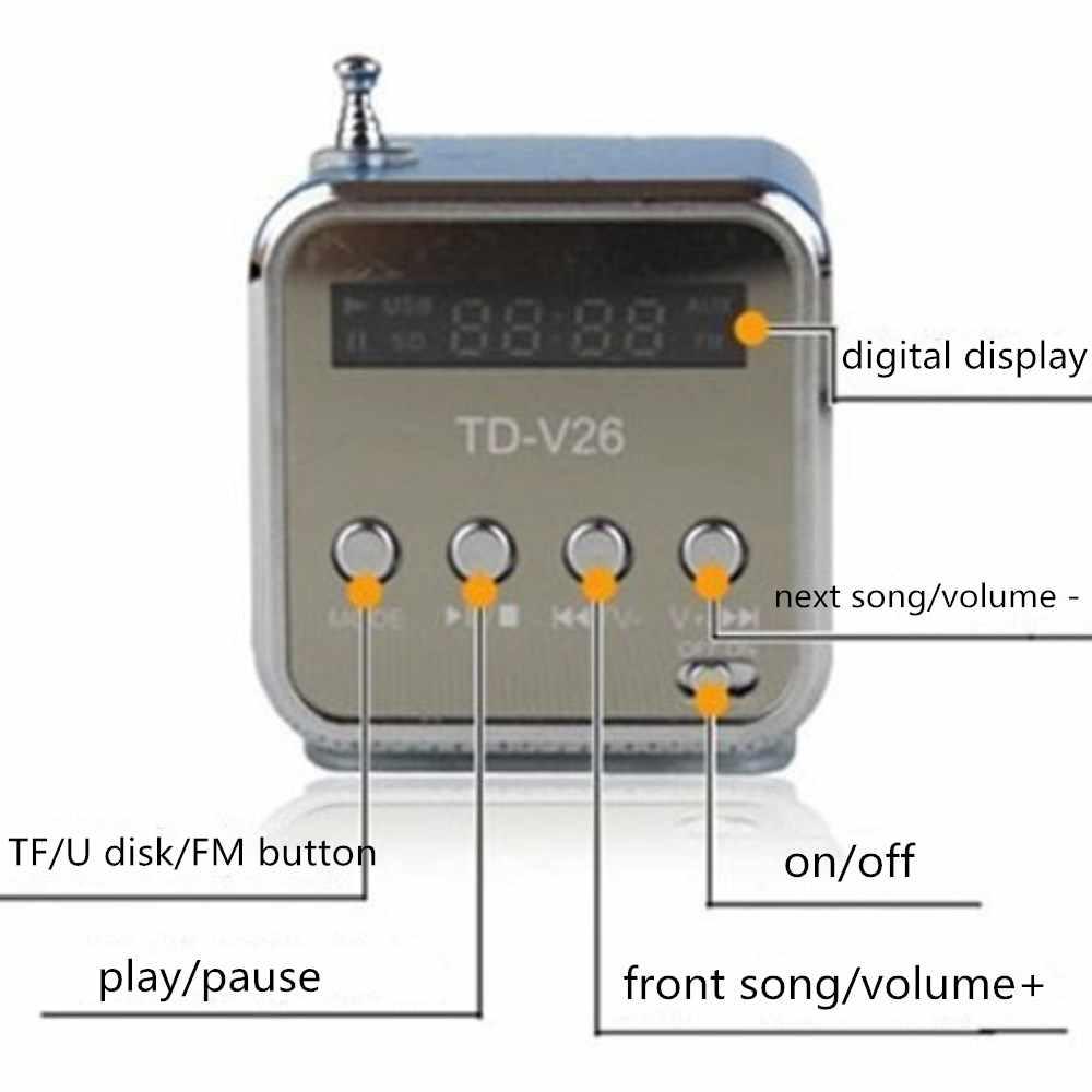 TD-V26 мини-динамик портативный цифровой ЖК-звук Micro SD/TF fm-радио динамик воспроизведение музыки стерео громкий динамик для смартфон ноутбук телефон