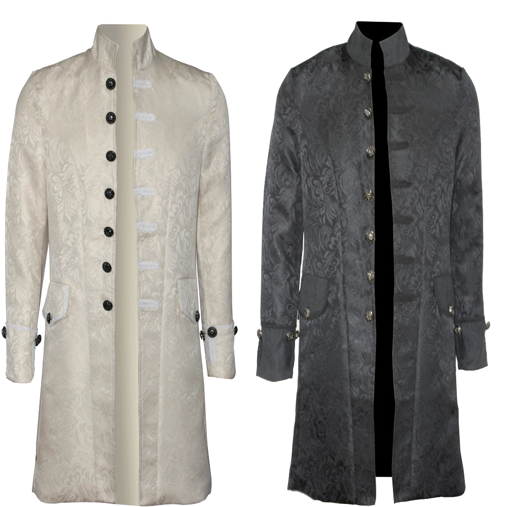 Gothic Brocade Jacket   Trench   Velvet Trim Long Sleeve Outfit S-3XL Mens Steampunk Tailcoat Frock Victorian Morning Coat