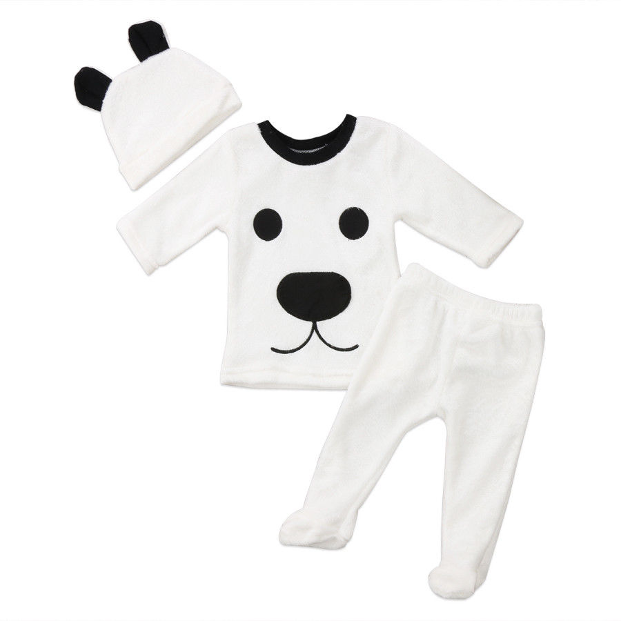 Newborn Baby Girl Boy Long Sleeve Hairy Warm 3 pcs Clothing Set Babies Tops Pants Outfits Set Fluffy Pjs Clothes Pyjamas ...