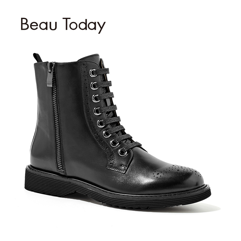 BeauToday New Martin Boots Women Handmade Lace-Up Zipper Genuine Calf Leather Short Ankle Boot Autumn Winter Lady Shoes 04015