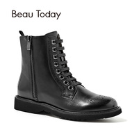 BeauToday New Martin Boots Women Handmade Lace Up Zipper Genuine Calf Leather Short Ankle Boot Autumn