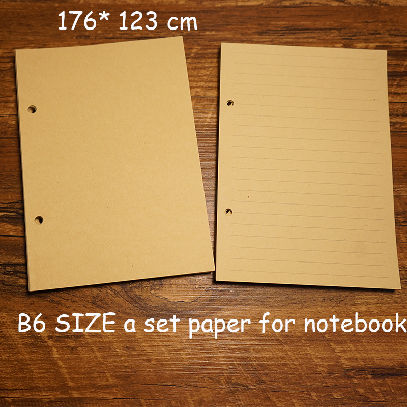 B6 176*122cm size notebook paper inside page travel journal notebook change loose leaf school supplies kraft line filler paper standard a5 style leather notebook inside loose leaf page have 6 hole on page paper insde 60 pcs quality kraft blank page