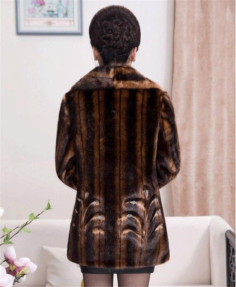 2020 Winter Women's Fur Coat Faux Mink Fur Jackets Plus size 5XL Middle aged Female Diamonds Thicken Noble Fur Coats OKXGNZ 2138