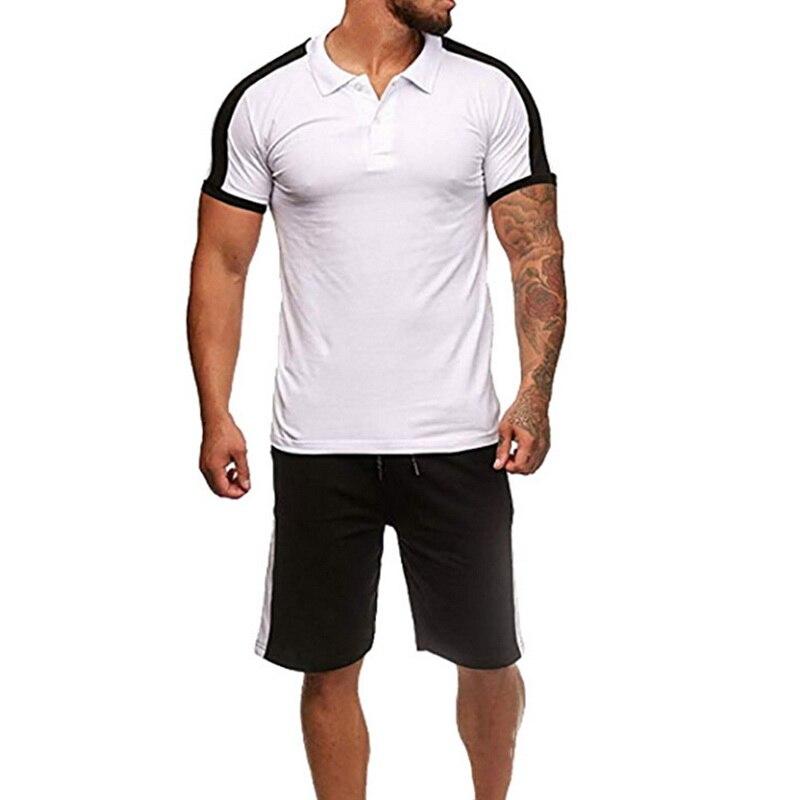 Lasperal 2019 Two Pieces Set Men Casual Short Sleeve T-Shirt Shorts Men's Tracksuits Summer Sportswear Fitness Tops Short Pants