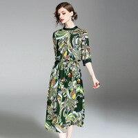 2017 new style women's fashion dress ,Europ style women  printing dress ,high-end lady  summer dress Q150371
