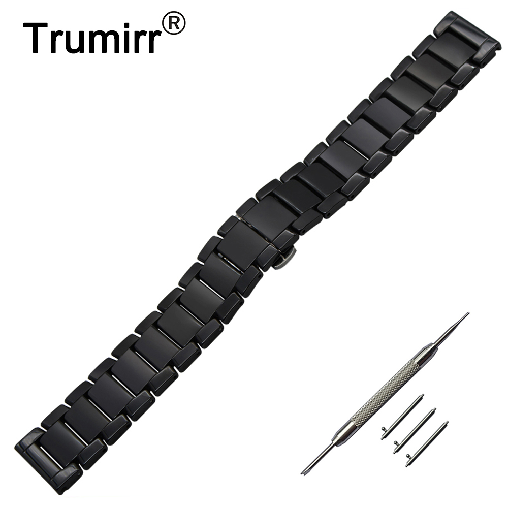 22mm Quick Release Ceramic Watchband for Pebble Time / Steel Moto 360 2 46mm Watch Band Butterfly Buckle Strap Wrist Bracelet genuine leather watch band 22mm for pebble time steel stainless pin buckle strap quick release wrist belt bracelet black brown