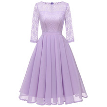 Women Vintage Autumn Summer chiffon Dress Elegant Ball Gown lace Female Sexy round neck Party Dresses