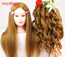 60CM hair length 95% natural mannequin head doll with practice dolls