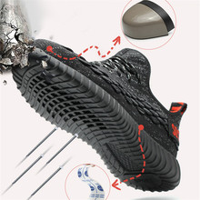 Lightweight Steel Toe Safety Shoes for Men Summer Anti-smashing Piercing Work Shoes Sandals Mesh Sneakers Men Safety Boots steel toe boots breathable safety shoes men s lightweight summer anti smashing piercing work fashion shoes 2018 men