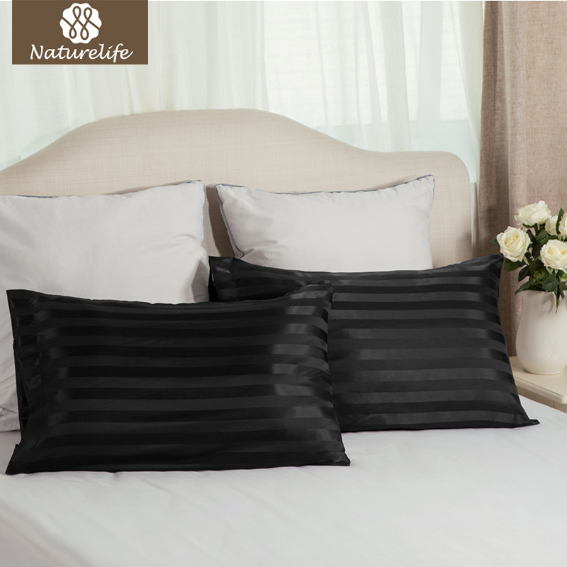 Naturelife Black Jacquard Stripes Silk Satin Pillowcase