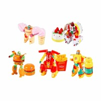 5Pcs Funny Food Design Robot action figure Toys Plastic Transformation Anime Figure Children Model Chips toy for boys brinquedos