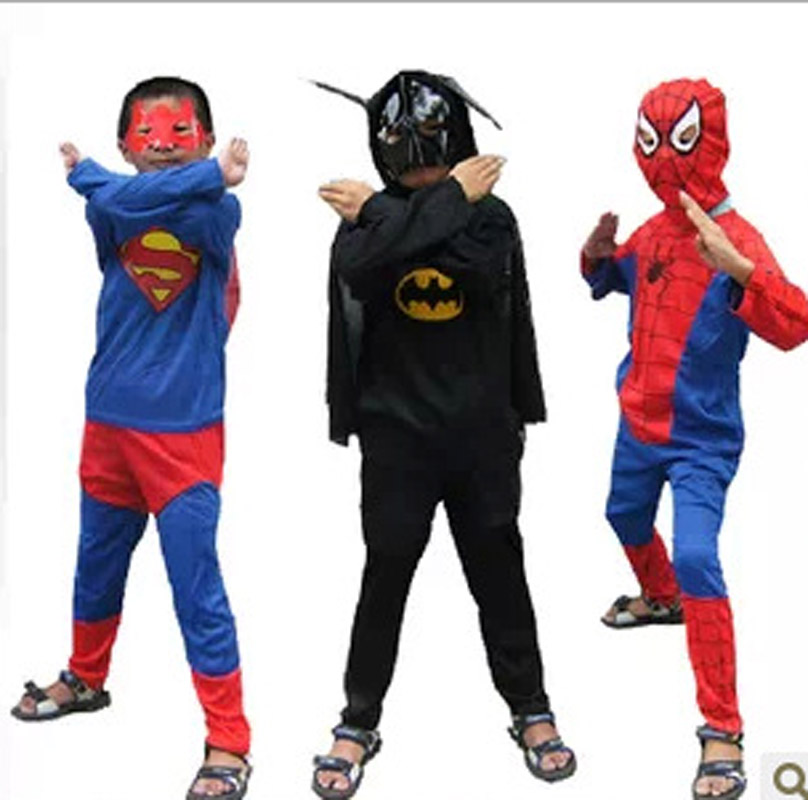 Kids Superman Batman Spiderman Zorro Costume Halloween Costume for Boy Role-Playing Party Cosplay T-Shirt+Pants Clothing Set