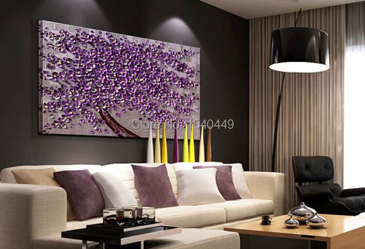 Hand Painted Palette Knife Painting Purple Flower Wall Art Home Decor  Abstract Tree Painting Canvas Art For Home Decor 1p310 In Painting U0026  Calligraphy From ...