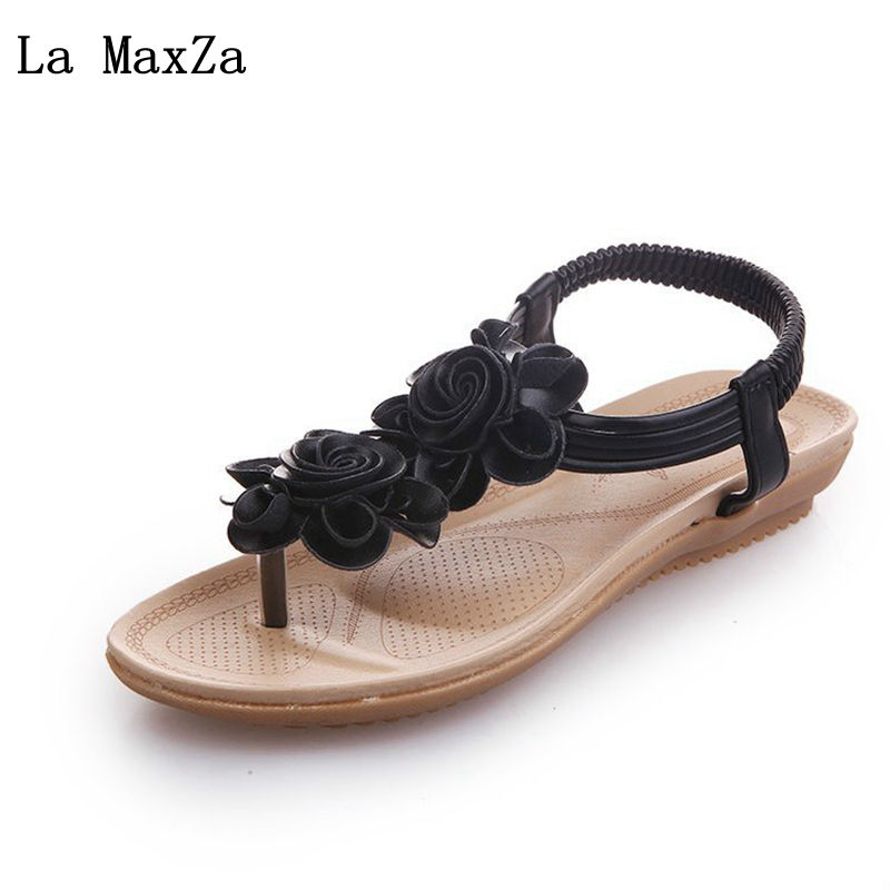 2018 Summer New Ladies Sandals Flower Clip Toe Flat Casual Women Shoes Slippers Gladiator Leisure Female Elastic Band Sandles