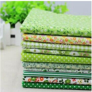 10 цветов 25 * 25 см зеленый обычная цветочный хлопчатобумажной ткани жира лоскутное стегальную ребенок расслоение тильда швейные домашний текстиль