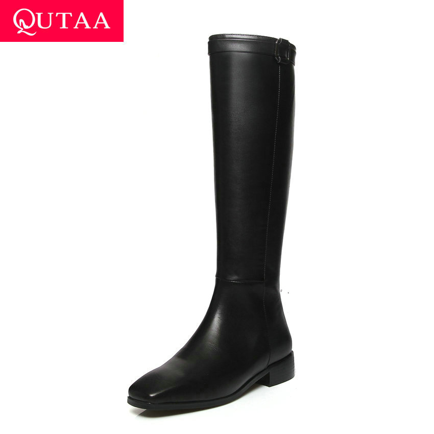 QUTAA 2020 Women Cow Leather Knee High Boots All Match Square Low Heel Shoes Square Toe Winter Concise Long Boots Size 34-43QUTAA 2020 Women Cow Leather Knee High Boots All Match Square Low Heel Shoes Square Toe Winter Concise Long Boots Size 34-43