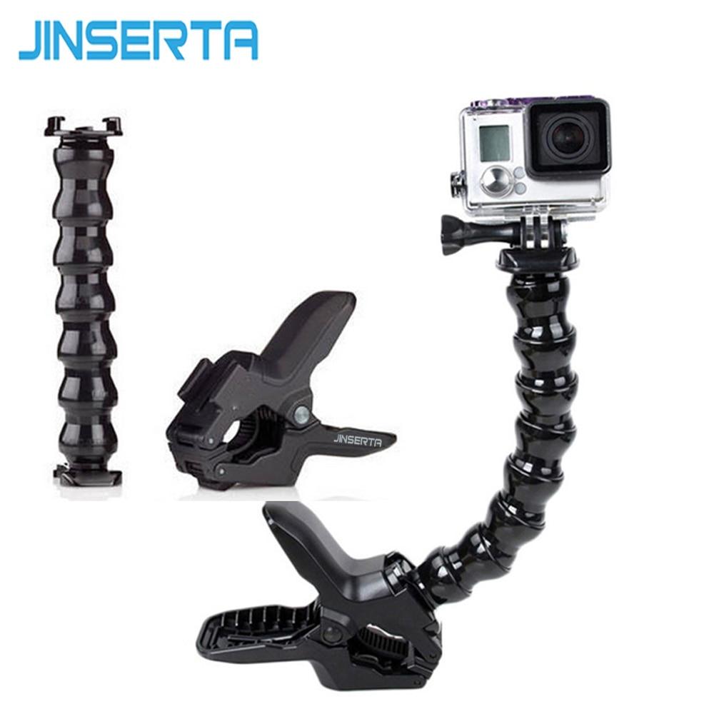 JINSERTA Go Pro Adjustable Neck gopro camera Jaws Flex Clamp Mount Flexible Tripod for Gopro hero 6 5 4 3 Xiaomi yi 4K Camera