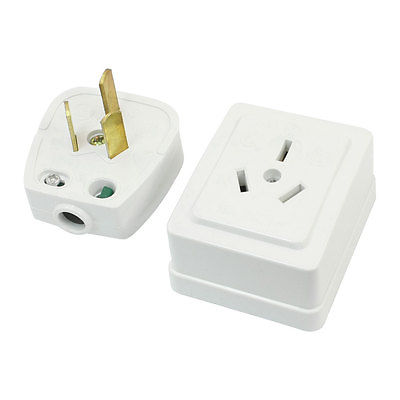 White Plastic Shell AU Socket Plug Set 10A/16A AC250V for 10mm Power Cable цена и фото