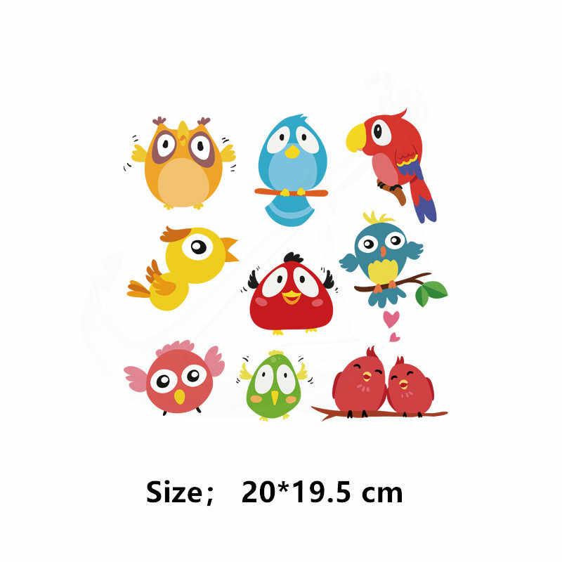 9 패턴/콤보 만화 새 앵무새 패치 20*19.5 cm diy 어린이 티셔츠 드레스 스웨터 열 전송 패치 의류