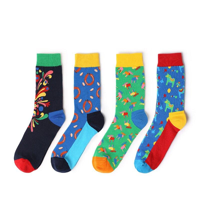 2018 New Men Women Cotton Socks Colorful Funny Socks Animal Flower Patten Art Socks For Couples