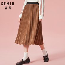 SEMIR Women Pleated Velvet Skirt in High Waist Womens Glittery with Elastic Wasitband Chic Style for Winter