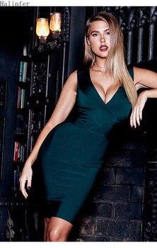 Halinfer 2019 nuevos de verano para mujeres, vestido de las mujeres sexy V-cuello cremalleras bandag bress + elegante celebridad paty vestido multicolor vestidos
