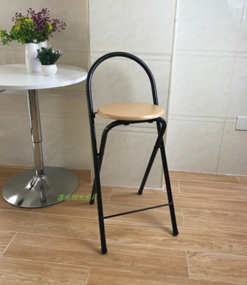Modern Folding Bar Stool High Foot Chair Backrest Seat Chair For Man/Woman Metal Pipe Wine Pub Stool With High Density Board