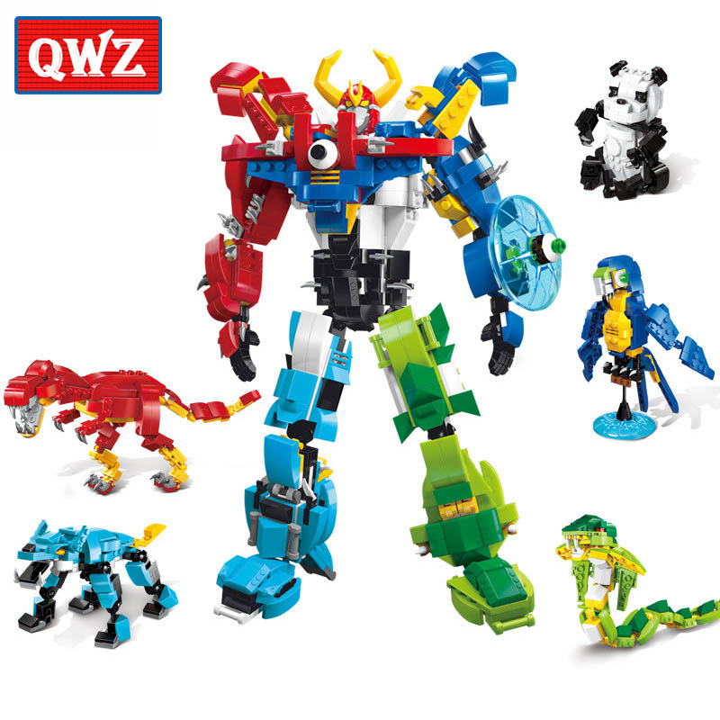 QWZ 5 in 1 Dinosaur Panda Wolf Deformation Robot Building Blocks Sets Bricks Model Kids Gifts Toys Compatible With Legoings 20cm ogrum 44007 robot brain attack hero factory 5 0 star soldier action figures model building bricks blocks kids toys gifts