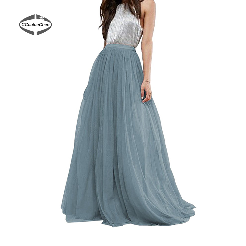 3 Layers 110cm Long Tulle Skirt A line Pleated Skirts Womens Wedding ...