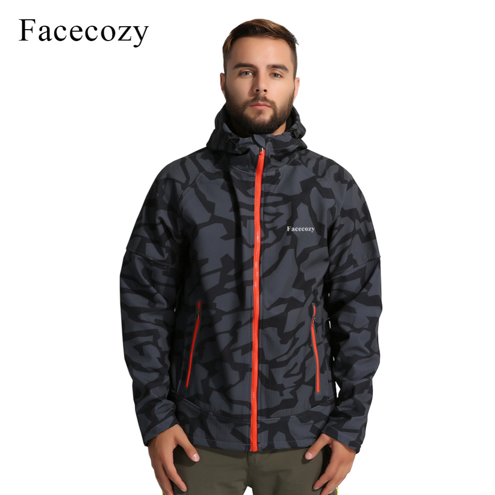 Facecozy Mens Autumn Outdoor Hiking Jacket Male Front Zipper Camping Softshell Jacket Breathable Hooded Thermal Fishing Coat