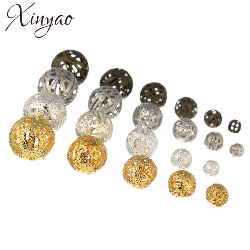 4mm//6mm//8mm//10mm//12mm Wholesale DIY Hollow Bead Alloy Loose Spacer Beads Charms