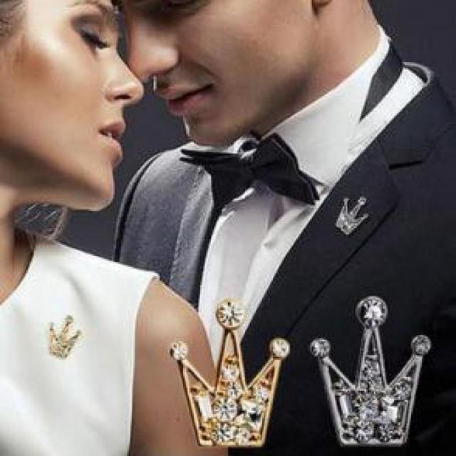 Clothes Buckles Rhinestone Brooch Women And Men Brooches Crystal Crown Queen Cor