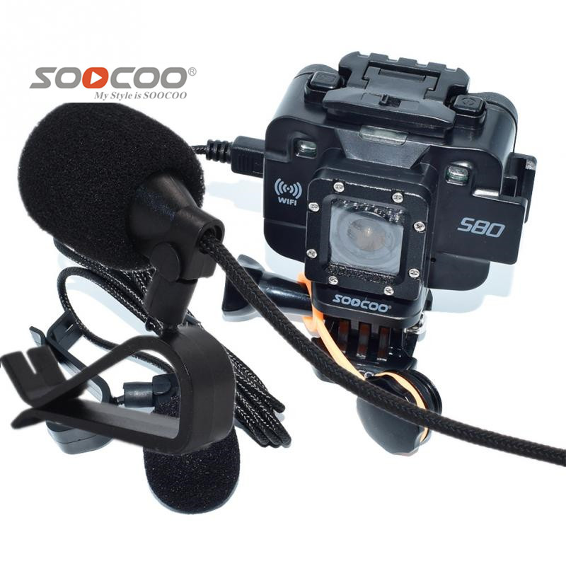SOOCOO Accessories Expanded Microphone MIC Mike with Holder Clip for S200 S80 S300 4K WIFI Sport Action Cameras