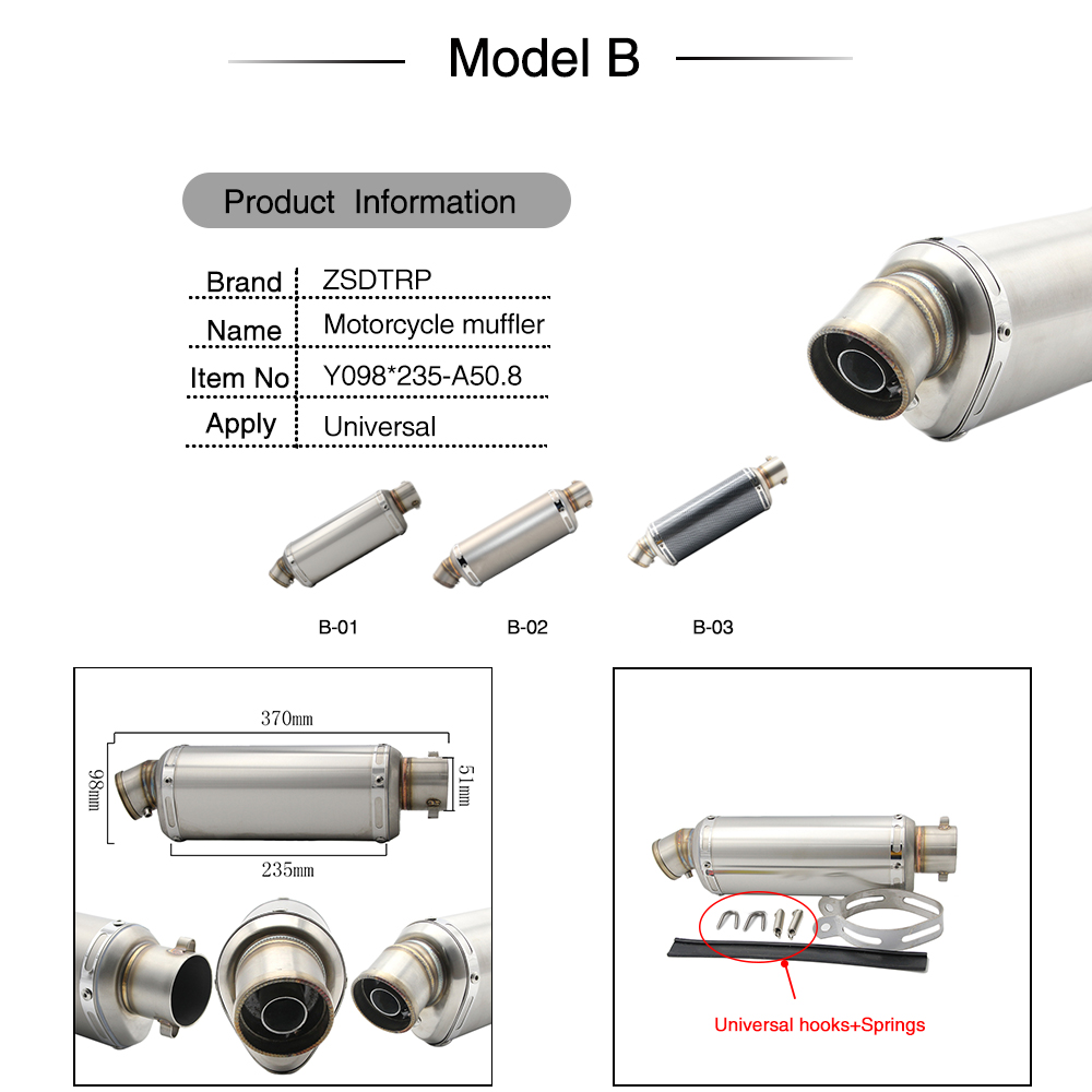 Alconstar  51mm Universal Motorcycle Exhaust Akrapovic Dirt Pit bike Exhaust Escape Modified GY6 Scooter Yoshimura Muffler R1 R3-in Exhaust & Exhaust Systems from Automobiles & Motorcycles    3