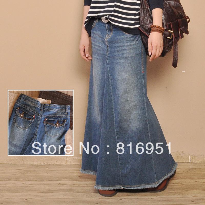 af2521b3d0 long jean skirts women blue jeans skirt long denim skirts for women mermaid  skirt