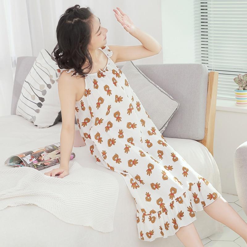 Women Dress Sleepwear Spaghetti Strap Skirt Girl Summer 100% Cotton Thin Loose Long Skirt Sexy Nightgown Homewear Sleepshirts