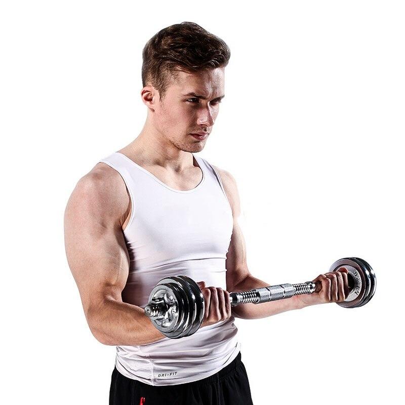 Haltères haltères 2 utilisation placage haltères 2 haltères + connecteur de vis de sécurité équipement de fitness avec tiges en plastique 15 kg - 3