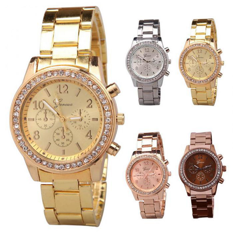 New Geneva three-eye diamond-encrusted alloy watch women's European and American steel belt casual jewelry watch