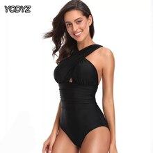 YCDYZ, черный, красный, крест-накрест спереди, женский купальник с высокой посадкой, купальный костюм, Цельный купальник, пляжный купальник