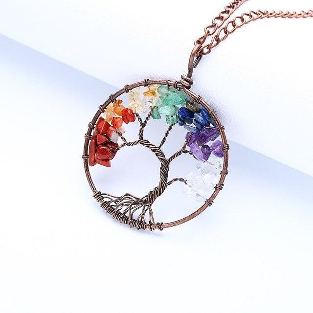 Naturalny kolor, kryształ, żwir, na całym świecie drzewo życia wisiorek naszyjnik handmade metal splot piękne kolorowe spar łańcuch sweter